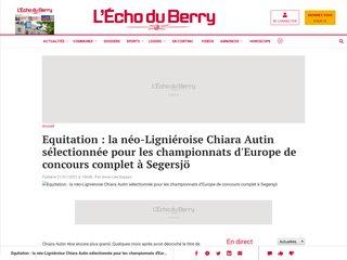 Lu dans l'Echo du Berry : La Ligniéroise Chiara Autin sélectionnée pour les championnats d'Europe d'équitation