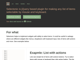 jQuery based plugin for making any list of items selectable by mouse and keyboard