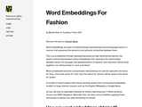 Word Embeddings For Fashion