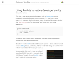 Using Ansible to restore developer sanity