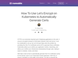 How To Use Let's Encrypt on Kubernetes to Automatically Generate Certs