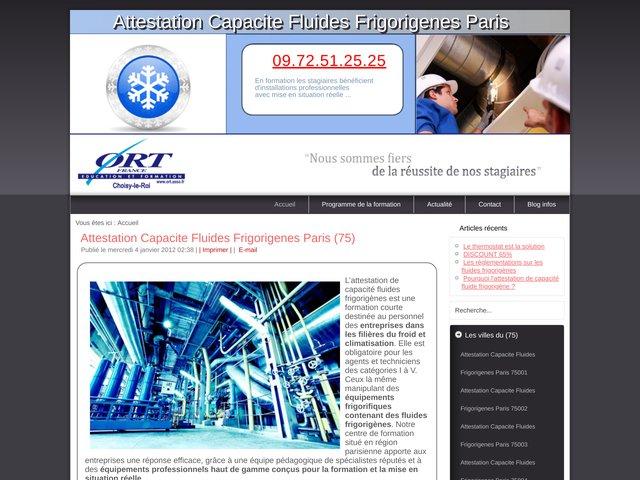 Formation attestation de capacité fluides frigorigènes Paris