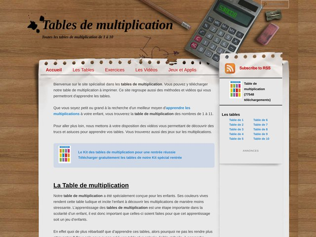 Telecharger les tables de multiplication