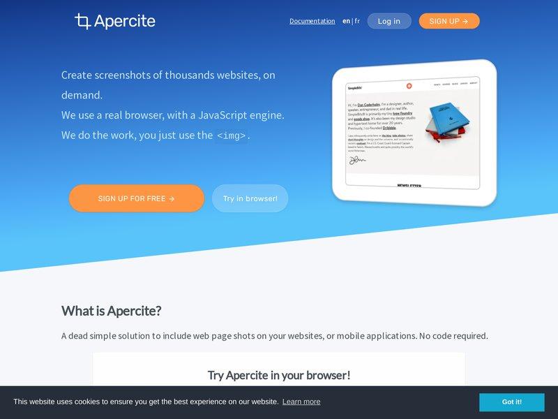 Apercite example for https://apercite.fr/