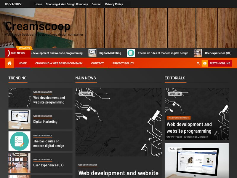 Screenshot example for https://www.creamscoop.com/, using Apercite.