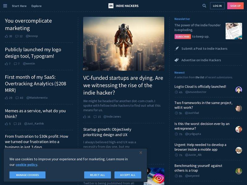 Screenshot example for https://www.indiehackers.com/, using Apercite.