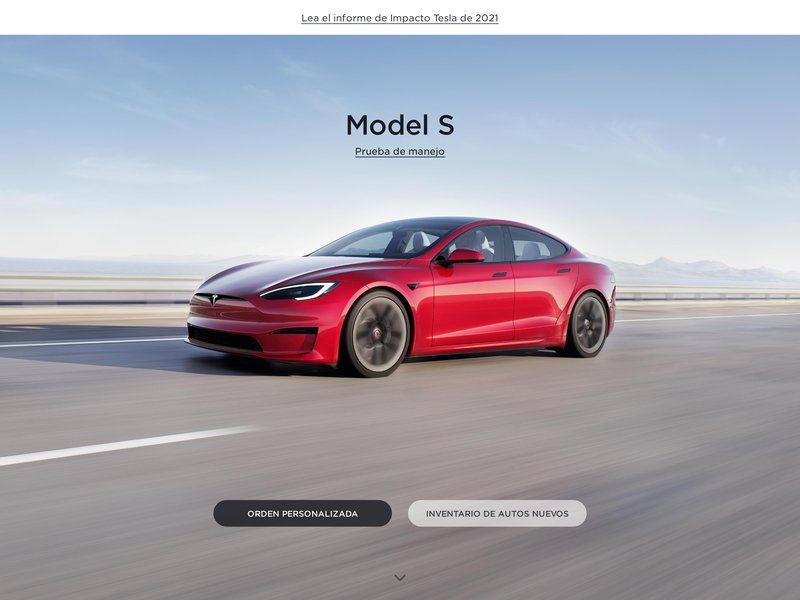 Screenshot example for https://www.tesla.com/es_MX/, using Apercite.